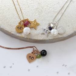 50th birthday necklace with silver, rose gold and gold charms and July, August and September birthstones