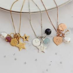 personalised birthday necklace in silver, rose gold and gold with birthstone