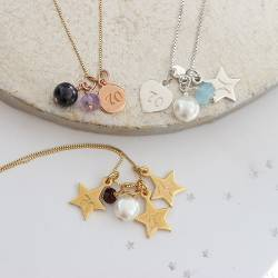 70th birthday necklace garnet for January, Amethyst for February and aquamarine for March birthdays