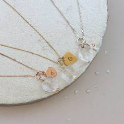 crystal heart or square pendant necklaces in sterling silver, rose gold or gold personalised with letter charms