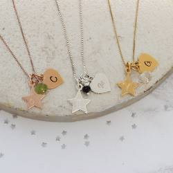 zodiac star charm necklace with heart letter charm in sterling silver, rose gold or gold
