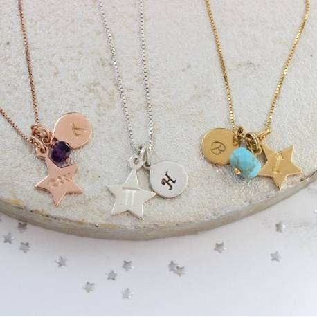 Aquarius, Libra and Sagittarius zodiac star charm necklace with disc in silver, rose gold or gold