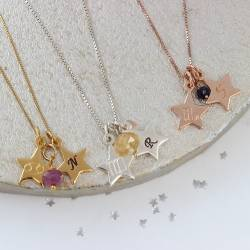 Cancer, Virgo and Scorpio zodiac star charm necklace with ruby, sapphire and cirtine birthstonesin sterling silver, rose gold or