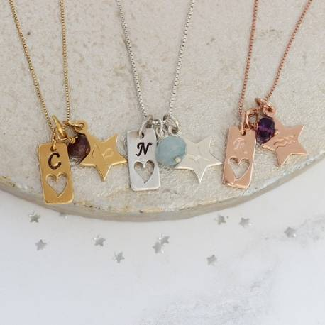 tag charm necklace in sterling silver, rosegold and gold with zodiac star charm for capricorn, aquarius and pisces
