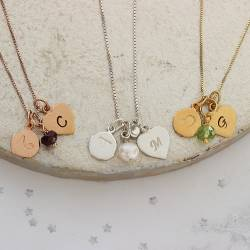 capricorn, gemini and leo zodiac disc with heart letter charm and birthstone necklace in sterling silver, rose gold or gold