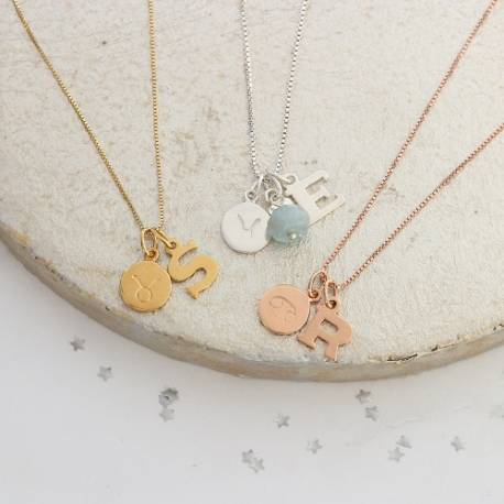 Pisces, Taurus and cancer zodiac disc with letter charm in sterling silver, rose gold or gold with aquamarine birthstone