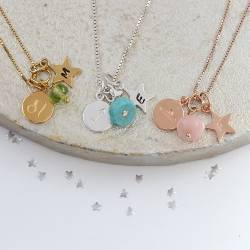 Leo, Libra and Sagittarius zodiac disc with star letter charm silver, rose gold and gold with peridot, opal and turquoise