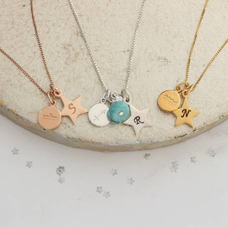 Aquarius, libra and Sagittarius zodiac disc charm with large star in sterling silver, rose gold and gold with turquoise gemstone