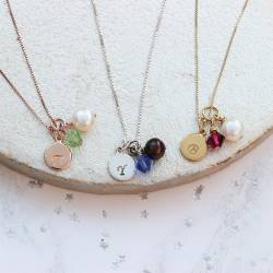 July, August and September birthstone crystal necklaces with disc charm in sterling silver, rose gold and gold