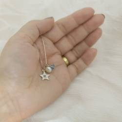 birthstone crystal necklaces with star charm in sterling silver, rose gold and gold