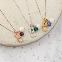 birthstone crystal necklaces with tag charm in sterling silver, rose gold and gold