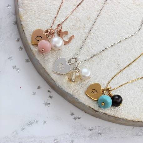 birthstone gemstone necklace with heart charm in sterling silver, rose gold and gold with october, november and december