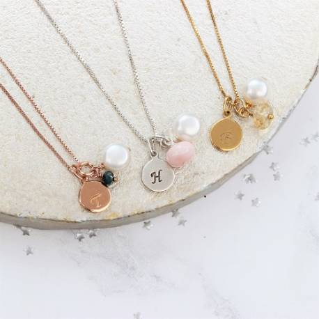 personalised birthstone gemstone necklace with disc charm in sterling silver rose gold and gold