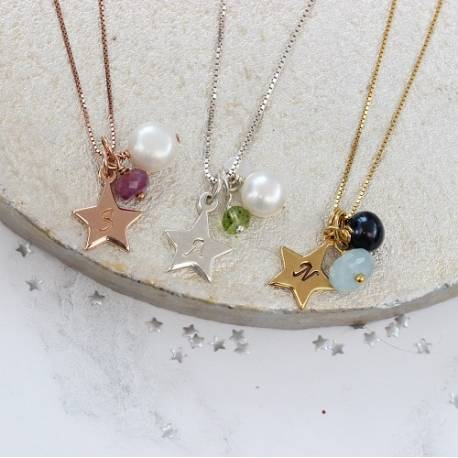 personalised birthstone gemstone necklace with star charm in sterling silver rose gold and gold