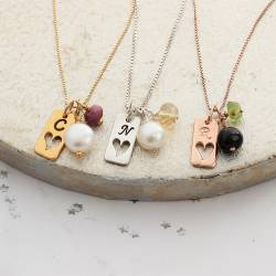 birthstone gemstone necklace with tag charm in sterling silver, rose gold and gold