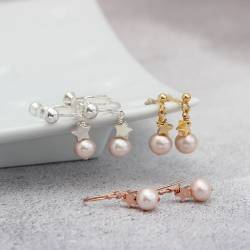 pink white or peacock Cultured Pearl with sterling Silver or rose gold or Gold Star Drop Earrings