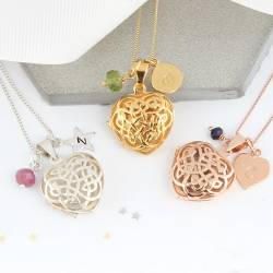 celtic locket silver, rose gold and gold with July, August and september birthstones a perfect a mothers day gift.