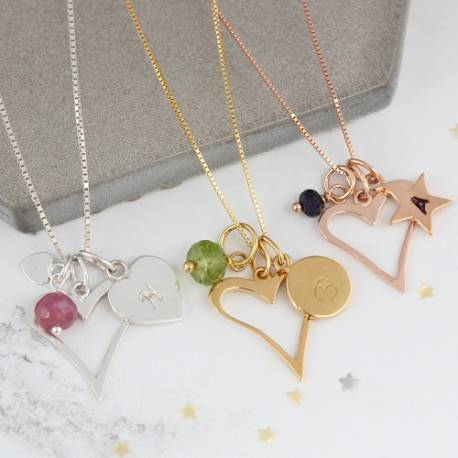 personalised heart necklace with july august and september birthstones a perfect gift for valentines