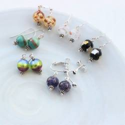 brightly coloured murano glass drop earrings on fishhooks, studs or clip on for non pierced ears