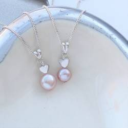 mama et moi pink pearl pendants with sterling silver heart a gift to treasure for mother and daughter