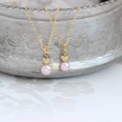 mama et moi pink pearl pendants with gold heart gift for a new mum and her baby daughter