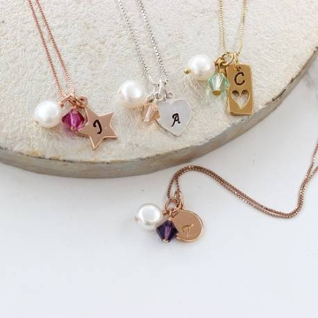 personalised charm necklace in silver, rose gold or gold with coloured swarovski crystals perfect for bridesmaids