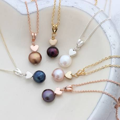 pearl pendant with rose gold, gold or silver heart to show her that she is special