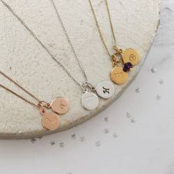capricorn, gemini and aquarius zodiac disc with letter disc in sterling silver, rose gold and gold