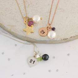 21st birthday necklace with July, August and September birthstones in silver, rose gold or gold