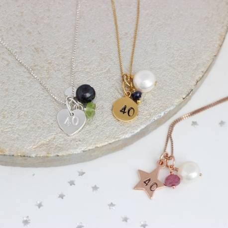 40th birthday necklace with ruby for July, peridot for August and sapphire for September