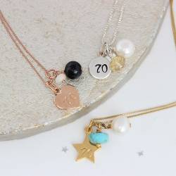 70th birthday necklaces with opal for october, citrine for november and turquoise for december gifts
