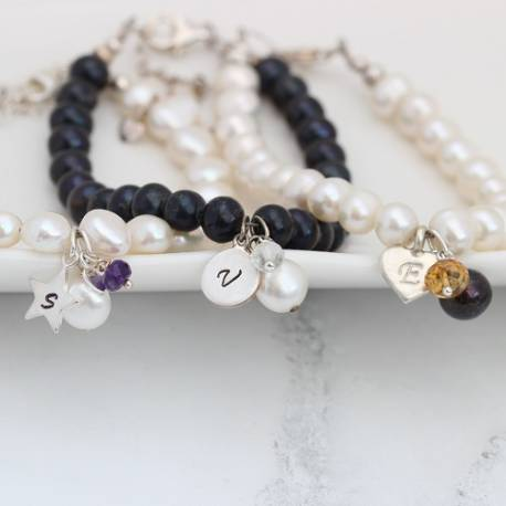 personalised pearl bracelet with gemstone birthstones for February, June and November birthday gifts