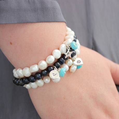 pearl cluster bracelets with turquoise for december birthday gifts