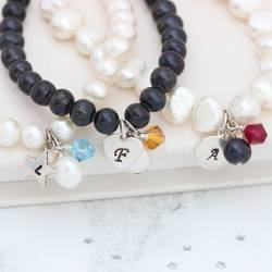 personalised black or white pearl bracelet with crystal birthstone cluster and sterling silver heart charm