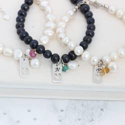 personalised pearl bracelets with tag charm and birthstone gemstones for May, July and November birthday gifts