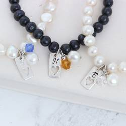 personalised pearl bracelets with tag charm and crystal birthstones for April, September and November birthday gifts