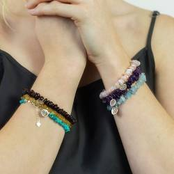gemstone birthstone bracelets with a sterling silver zodiac star sign charm
