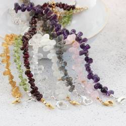 delicate handmade gemstone teardrop bracelets with silver or gold heart clasp by bish bosh becca