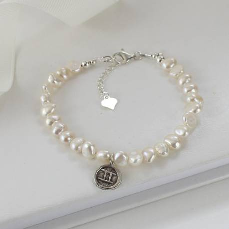 white pearl and zodiac charm bracelets for gemini star sign
