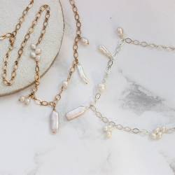 statement handmade silver or gold chain necklaces with genuine white freshwaterpearls