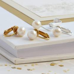 8mm white pearl clip on wedding earrings for a bride with non pierced ears