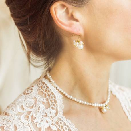 adrianna white pearl wedding choker necklace and cluster earrings set in gold