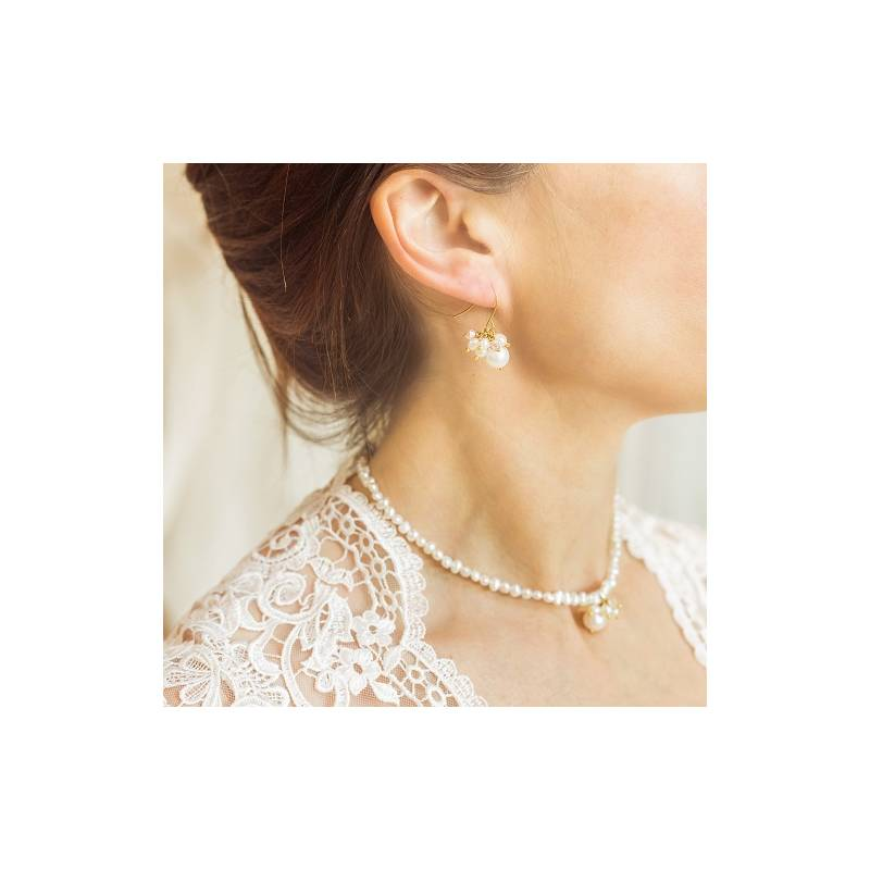 18a2d3a029915 White Pearl Choker Wedding Necklace and Earrings Set| Bish Bosh Becca