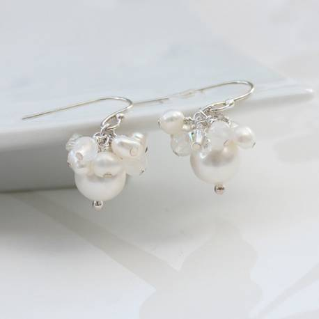 adrianna handmade white pearl drop earrings for a bride on her wedding day
