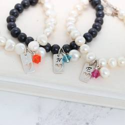 bridesmaids personalised pearl bracelet with silver tag charm with heart and crystal in living coral, teal and fushia pink