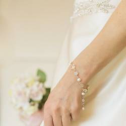 Bridal handmade white pearl and crystal bracelet, sterling silver, a delicate wedding bracelet
