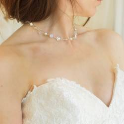 bridal white pearl and crystal wedding necklace handmade by Bish Bosh Becca