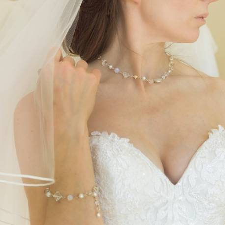 bridal white pearl and crystal necklace and bracelet wedding set handmade by bish bosh becca