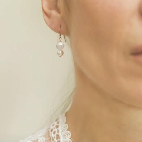 cassio handmade affordable swarovski crystal and pearl wedding earrings in ivory on rose gold fish hooks