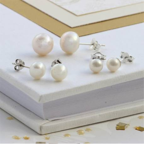 bridal white pearl stud earrings on sterling silver classic elegnace for a bride on her wedding day